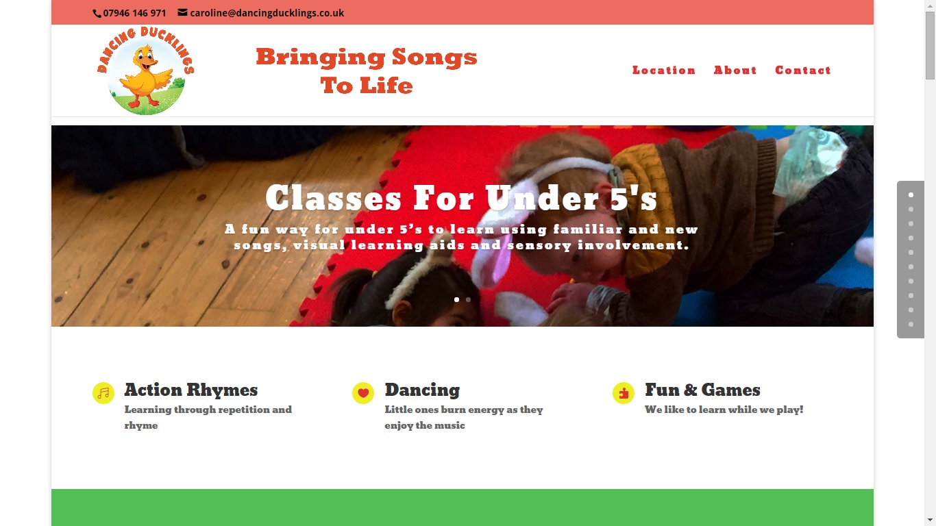 Website Design: Children's Classes