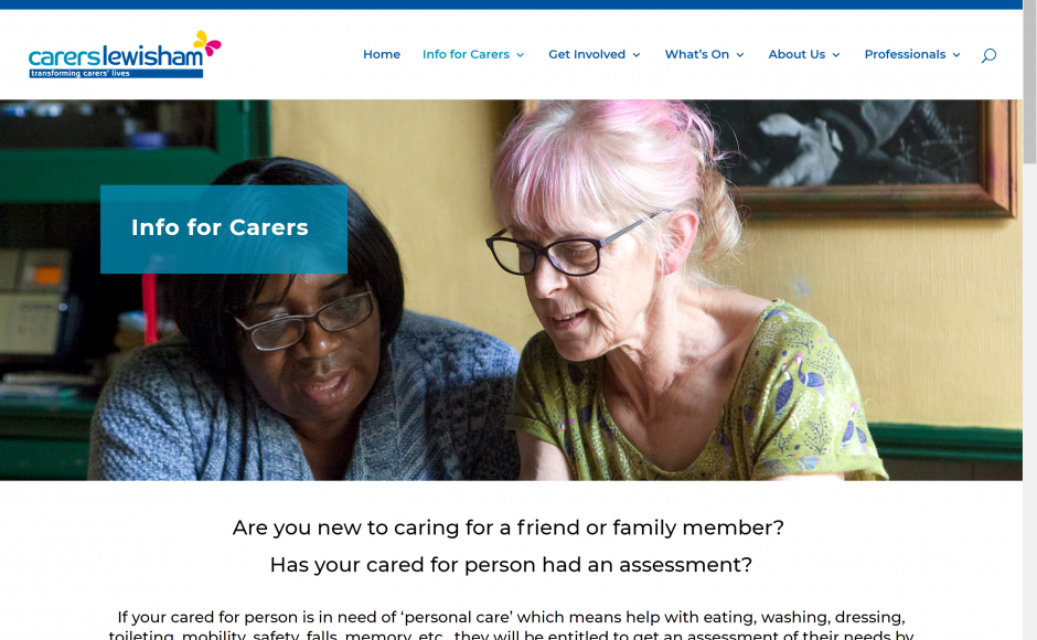 Website Design: Carers Lewisham