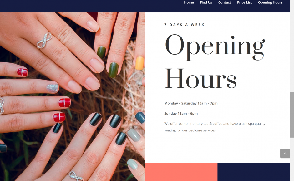 Screenshot of A&D Nails Website